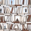 On books wall — Stockfoto