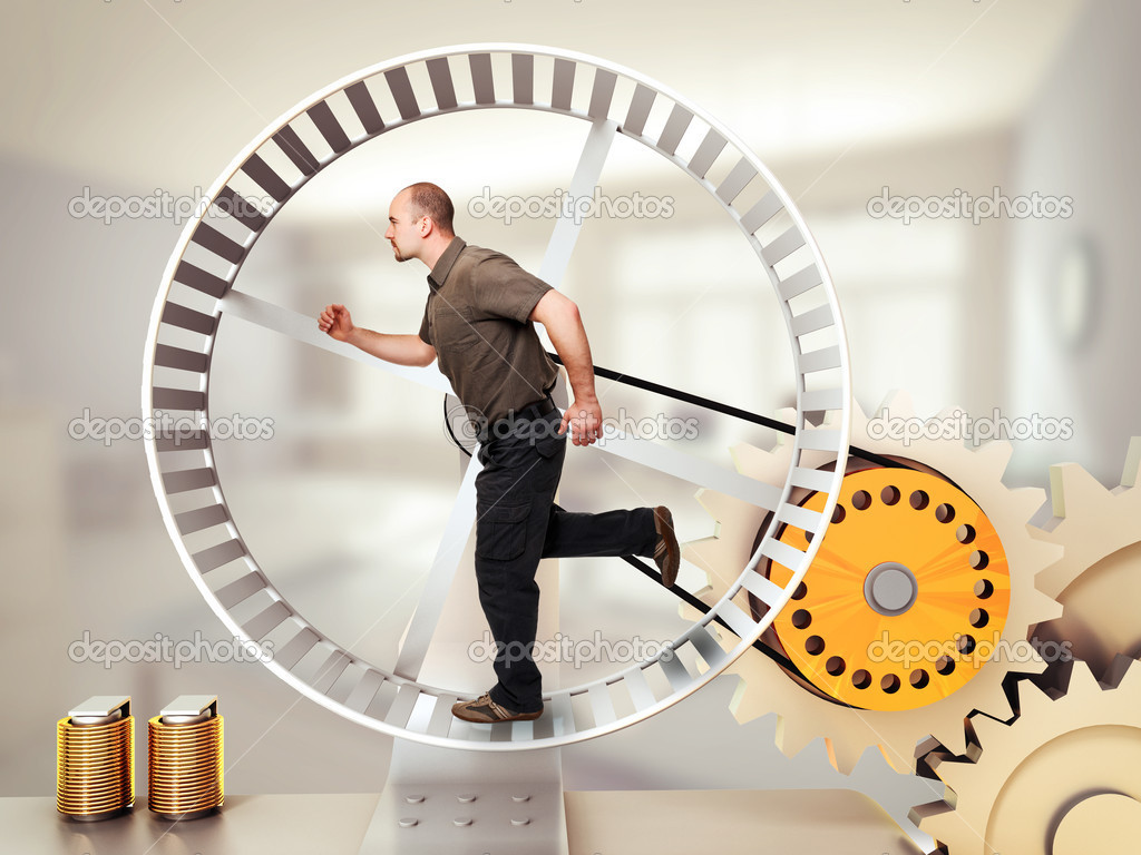 Man run on hamster wheel — Stock Photo #11132792
