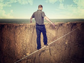 Man on rope — Stock Photo