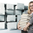 Woman anf files - Stockfoto