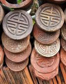 Decorated Traditional Chinese Roof Tiles — Stock Photo
