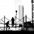 Silhouette of Construction Site — Stockfoto