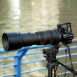 Single Lens Reflex Camera with Telephoto Lens — Stock Photo