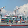 Large Container Terminal with Cranes — Stock Photo