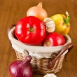 Fresh vegetables in basket — Stock Photo #10864246