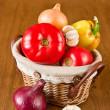 Fresh vegetables in basket — Stock Photo #10864246