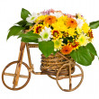 Decorative bicycle vase with flowers - Stock Photo