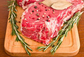 Raw Meat Steaks and Spices close-up — Stock Photo