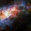 Stock Photo: Starry deep outer space nebual and galaxy