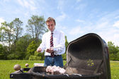 Man and barbeque. — Stock Photo