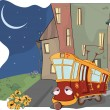 Fairy tale on a tired red tram - Imagen vectorial
