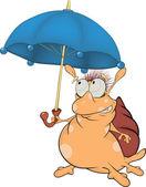 Snail and an umbrella. The monster. Cartoon — Stock Vector