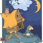夜の木と、古い木製の魔女の小屋。漫画 — ストックベクタ