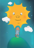 The girl and the sun — Stock Vector