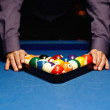 Stock Photo: Hands on billiard balls