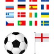Stock Vector: Football ball and flag