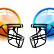 Football Helmets on white — Stock Vector