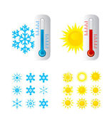 Thermometer Hot And Cold Temperature — Stock Vector