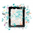 Black abstract tablet pc with floral decoration for your design — Stok Vektör