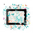 Black abstract tablet pc with floral decoration for your design — Stock Vector