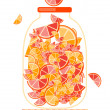 Jar with fruit jam for your design - Stok Vektör