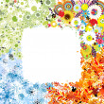 Four seasons frame - spring, summer, autumn, winter. — Stock Vector