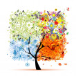Four seasons - spring, summer, autumn, winter. Art tree beautiful for your design — Vettoriali Stock