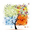 Four seasons - spring, summer, autumn, winter. Art tree beautiful for your design — Stock Vector