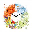 Design of clock. Four seasons, concept. — ストックベクタ