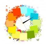 Návrh hodin. čtyři roční období, koncept — Stock vektor