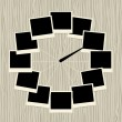 Creative clock design with photo frames — Stock Vector