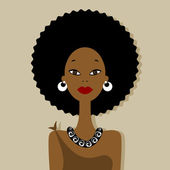 African woman portrait for your design — Stock Vector