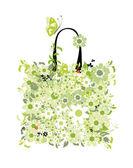 Shopping bag, design floreale — Vettoriale Stock