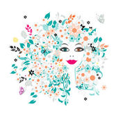 Woman face, floral hairstyle for your design — Stock Vector