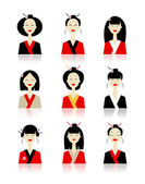 Set of asian woman icons for your design — Stock Vector