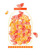 Jar with fruit jam for your design — Stock Vector