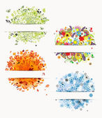 Four seasons, design frames with place for your text — Stock Vector