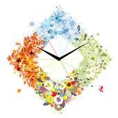Diseño de reloj. cuatro temporadas, concepto. — Vector de stock