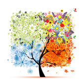 Four seasons - spring, summer, autumn, winter. Art tree beautiful for your design — Vetor de Stock