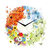 Návrh hodin. čtyři roční období, koncept. — Stock vektor