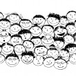 Stock Vector: Crowd of funny peoples, seamless background for your design