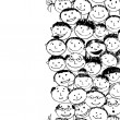 Crowd of funny peoples, seamless background for your design — Stock Vector #11010838