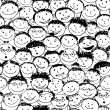 Crowd of funny peoples, seamless background for your design — Stock Vector #11010840