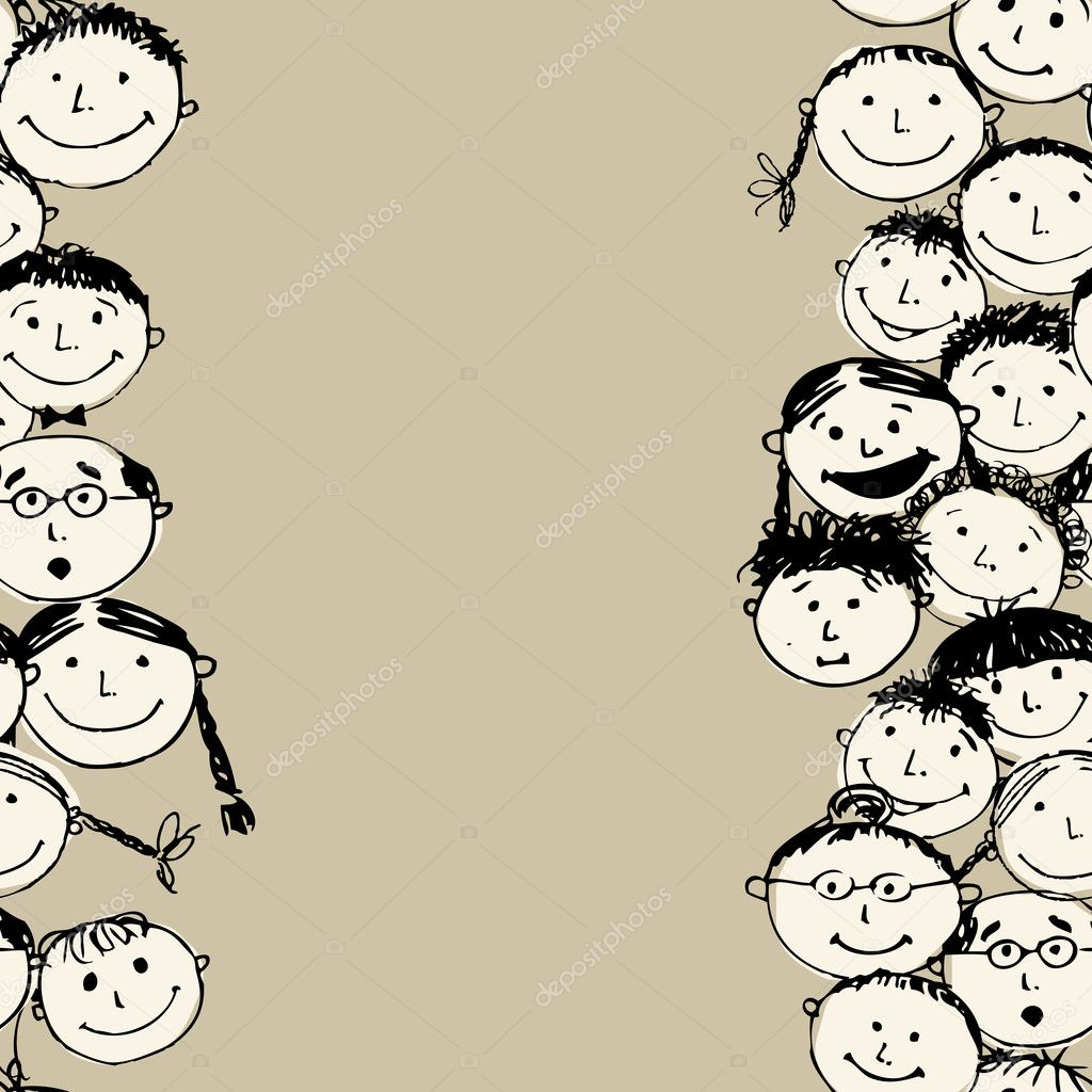 Crowd of funny peoples, seamless background for your design  Stock Vector #11010843