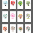 12 cards with trees design. Season holiday — Vector de stock