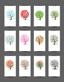 12 cards with trees design. Season holiday — Stock Vector