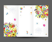 Birthday postcard, cover and inside page. Design for your print — Stock Vector