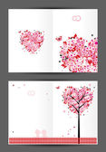 Wedding postcard, cover and inside page. Design for your print — Stock Vector