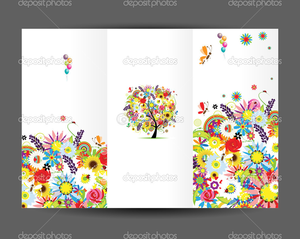 birthday postcard cover and inside page design for your print birthday postcard cover page design for your print vector by kudryashka