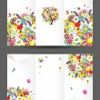 Birthday postcard, cover and inside page. Design for your print - Vettoriali Stock